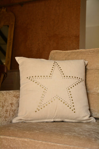 Star Embroidered Cream Linen Cushion Cover