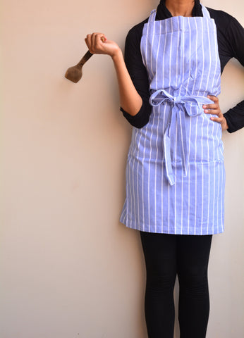 Blue Striped Cotton Apron
