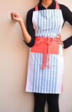 White Striped Cotton Apron
