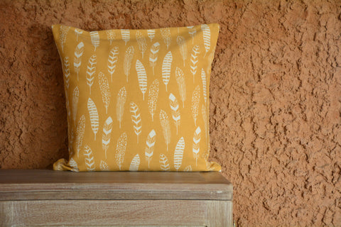 Yellow Feather Printed Cotton Cushion Cover