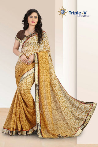 Brown Printed Butta Poly Viscose Daily Wear Saree With Blouse