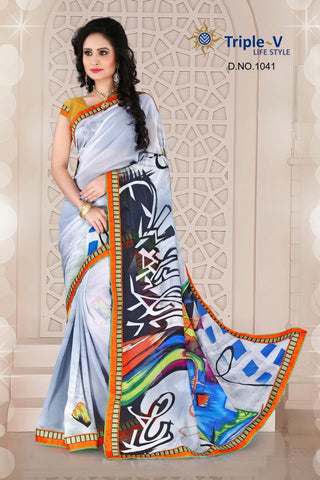 White Poly Viscose Daily Wear Saree With Blouse