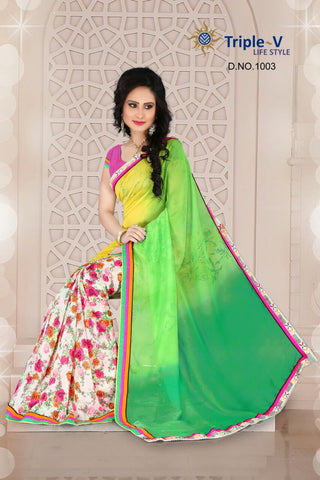White Froral Printed Butta With Green Fall Poly Viscose Daily Wear Saree With Blouse