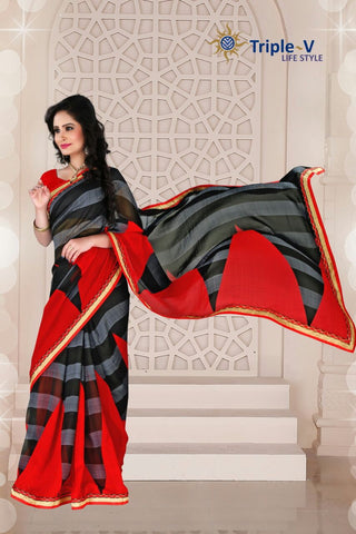 Black-Red Poly Viscose Daily Wear Saree With Blouse
