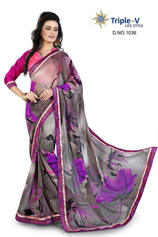 Black-Purple Poly Viscose Daily Wear Saree With Blouse