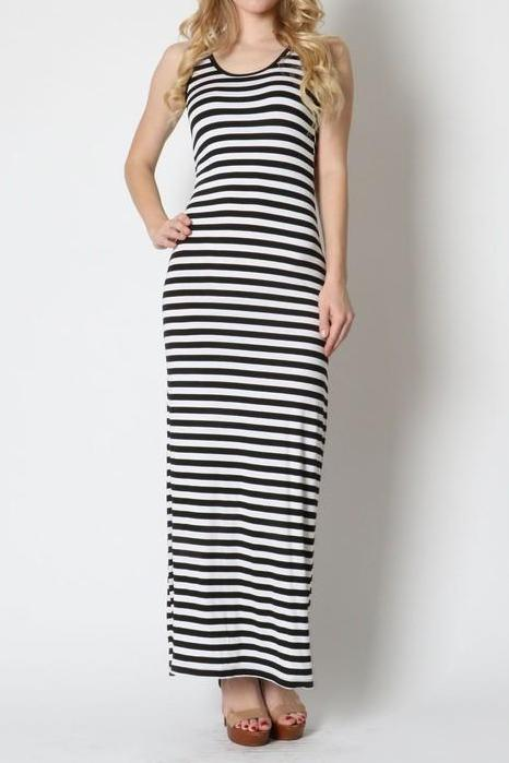 B&W Stripe Tank Dress
