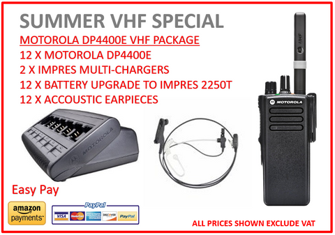 SUMMER VHF SPECIAL - 12 X Motorola DP4400e Digital Two Way Radio With Acoustic Earpiece - Radio-Shop UK