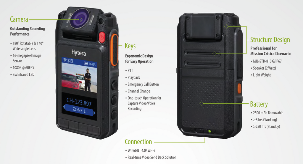 Hytera Body Worn Camera and Remote Speaker Microphone