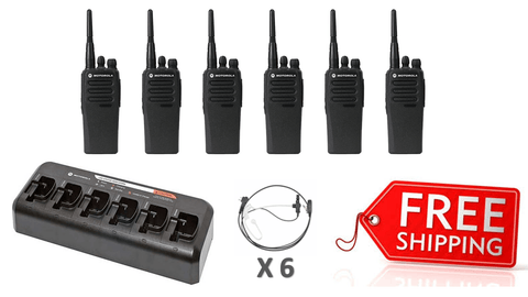 Complete Package - 6 X Motorola DP1400 Digital Two Way Radio With Acoustic Earpiece_Radio-Shop UK