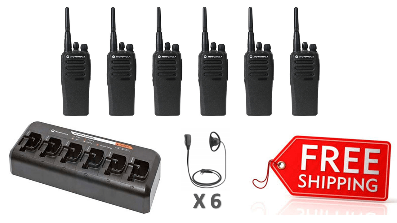 Complete Package - 6 X Motorola DP1400 Digital Two Way Radio With D-Shape Earpiece - Radio-Shop.uk - 1