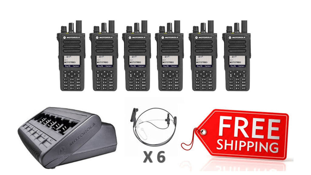 Complete Package - 6 X Motorola DP4800e Digital Two Way Radio With Acoustic Earpiece_Radio-Shop UK