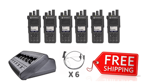 Complete Package - 6 X Motorola DP4800e Digital Two Way Radio With Acoustic Earpiece - radio-shop-uk.myshopify.com