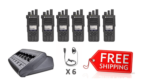 Complete Package - 6 X Motorola DP4800e Digital Two Way Radio With D-Shape Earpiece_Radio-Shop UK