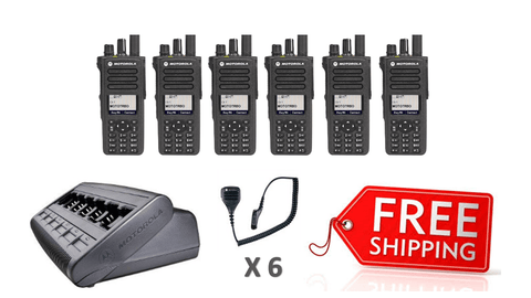 Complete Package - 6 X Motorola DP4800e Digital Two Way Radio With Fist Mic_Radio-Shop UK