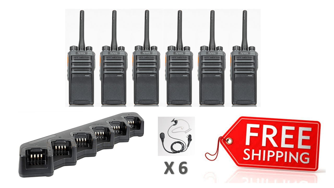 Complete Package - 6 x Hytera PD405 Digital Two Way Radio With Acoustic Earpiece - Radio-Shop.uk - 1