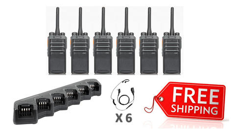 Complete Package - 6 x Hytera PD405 Digital Two Way Radio With C Style Earpiece - Radio-Shop.uk - 1