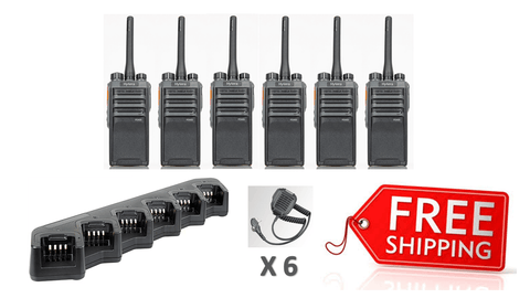 Complete Package - 6 x Hytera PD405 Digital Two Way Radio With Fist Mic (RSM) - Radio-Shop.uk - 1