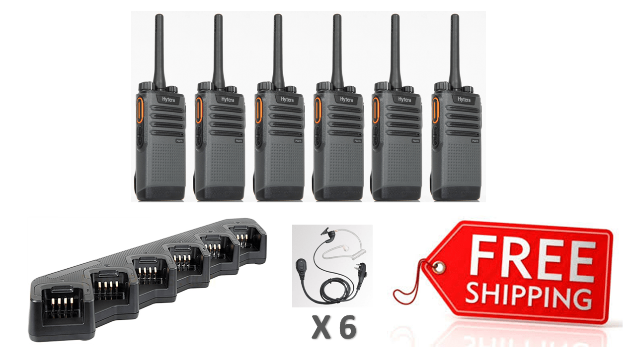 Complete Package - 6 X Hytera PD415 Digital Two Way Radio With Acoustic Earpiece - Radio-Shop.uk - 1