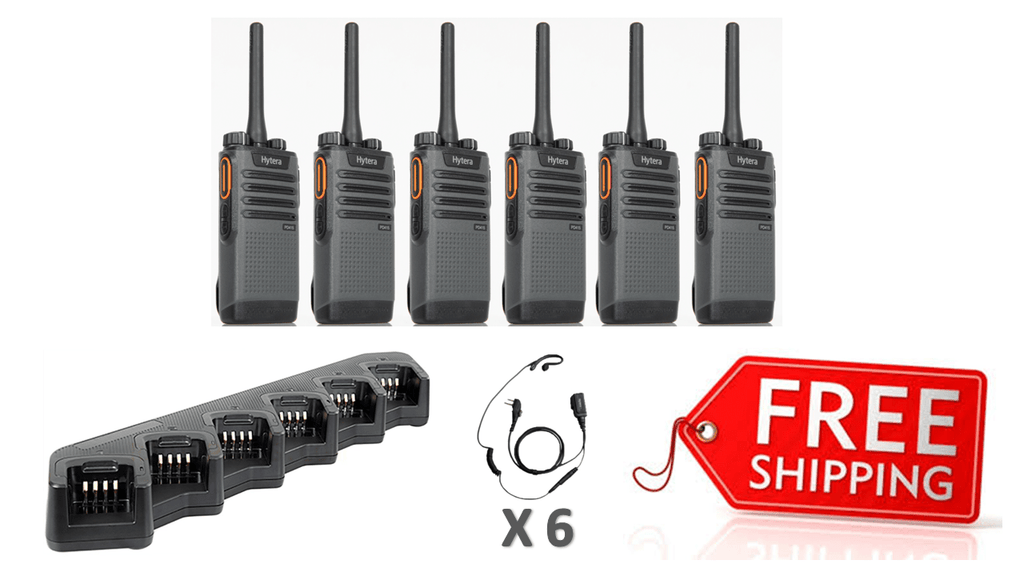 Complete Package - 6 X Hytera PD415 Digital Two Way Radio With C Style Earpiece - Radio-Shop.uk - 1