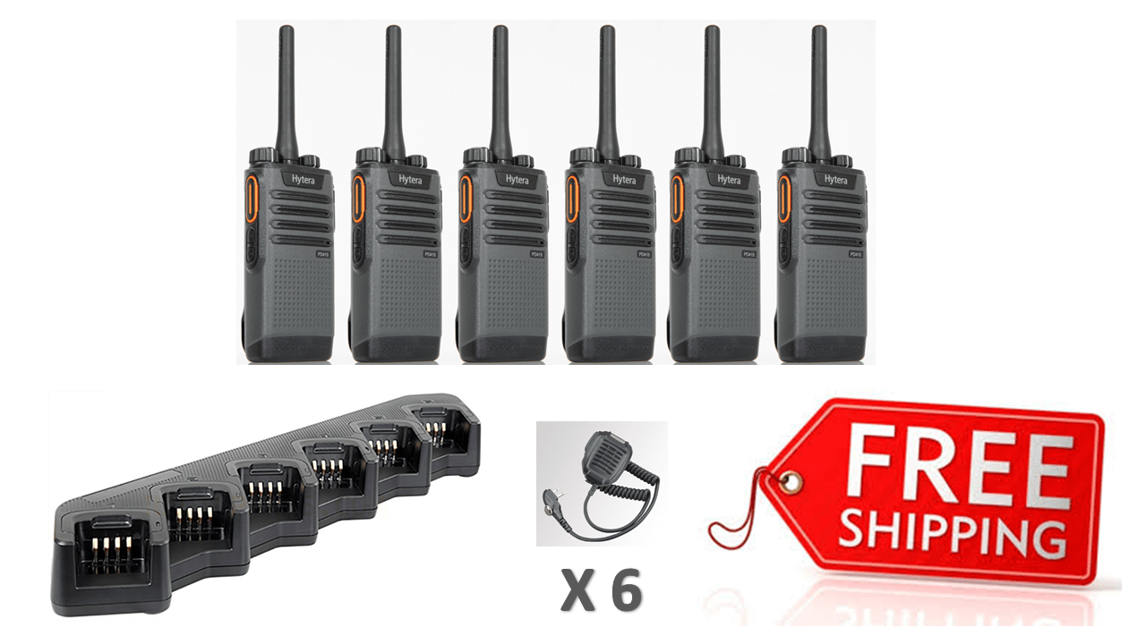Complete Package - 6 X Hytera PD415 Digital Two Way Radio With Fist Mic (RSM) - Radio-Shop.uk - 1