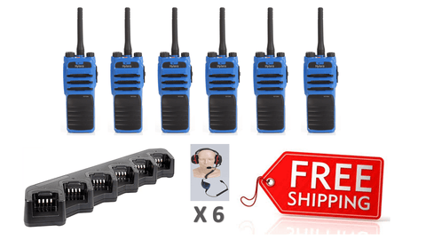 Complete Package - 6 X Hytera PD715ex Digital ATEX Intrinsic Two Way Radio With Heavy Duty Headset - Radio-Shop.uk - 6