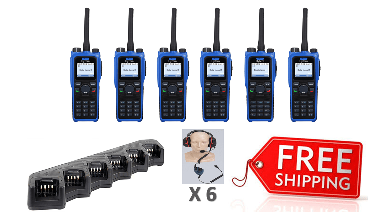 Complete Package - 6 X Hytera PD795ex Digital ATEX Intrinsic Two Way Radio With Heavy Duty Headset - Radio-Shop.uk - 1