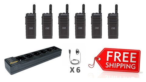 Complete Package - 6 X Motorola SL1600 Digital Two Way Radio With D-Shape Earpiece_Radio-Shop UK