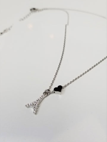 Eiffel Tower & Heart Necklace