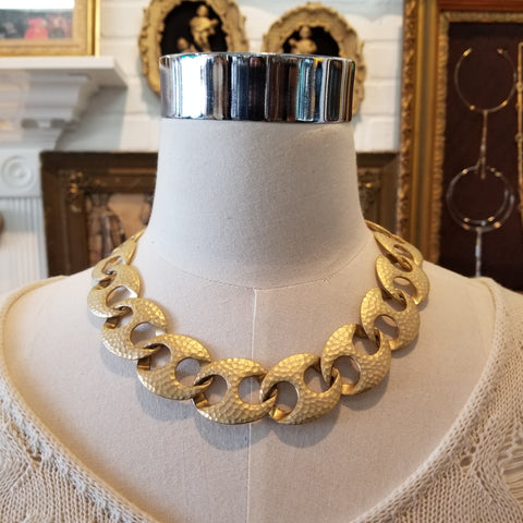 Vintage 80s Hammered Chain Link Necklace