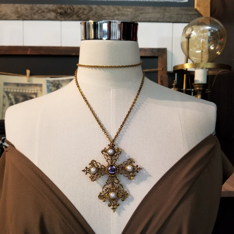 Vintage Byzantine Style Cross Necklace