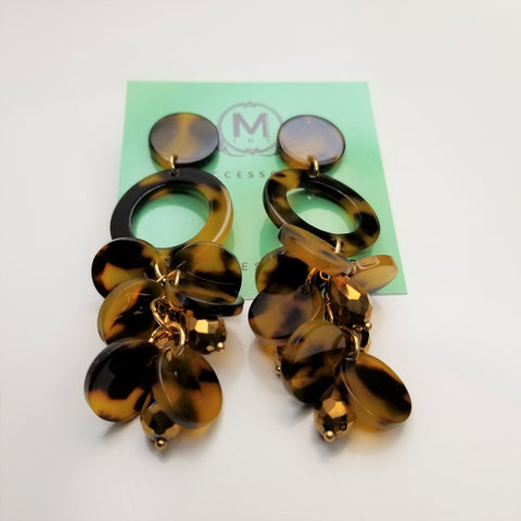 Tortoise Acrylic Chandelier Earrings