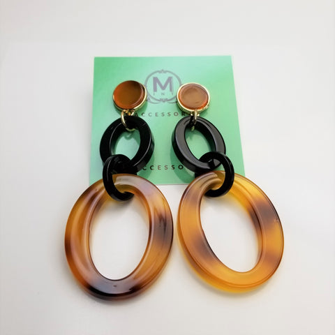Tortoise Hoop Link Earrings