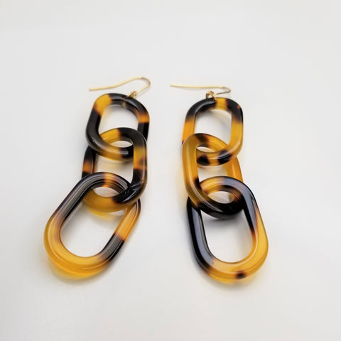 Tortoise Acrylic Link Earrings