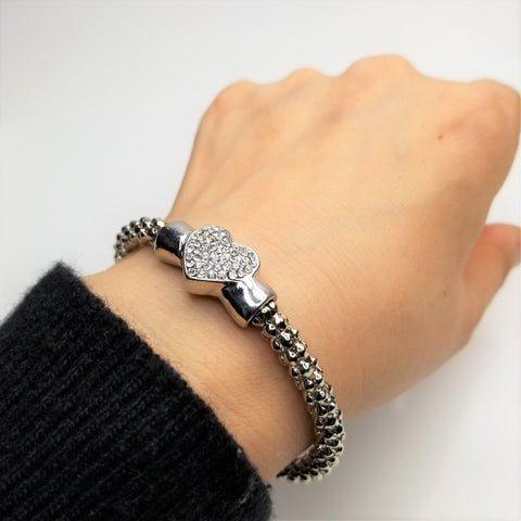 Crystal Heart Bangle Bracelet