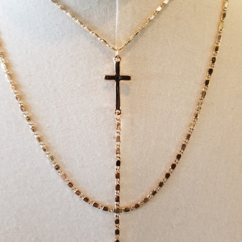 Y Shaped Double Layered Cross Necklace