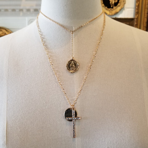 Crystal Cross Double Layered Necklace