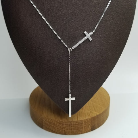 Y Shaped Double Cross Necklace