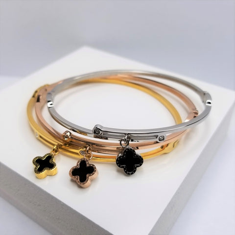 Double Sided Flower Bangle Bracelet