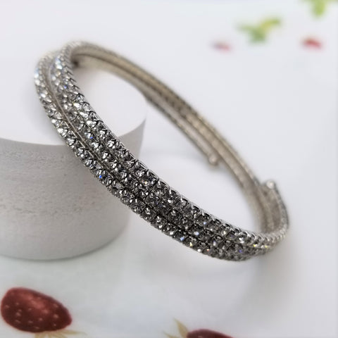 Three Row Crystal Warp Bracelet