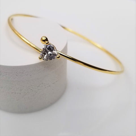 Heart Crystal Bangle Bracelet