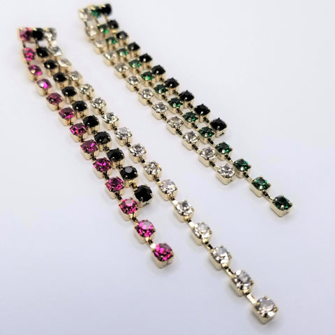 Multi Colored Crystal Line Earrings