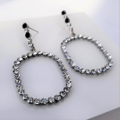 Crystal Round Square Shaped Earrings