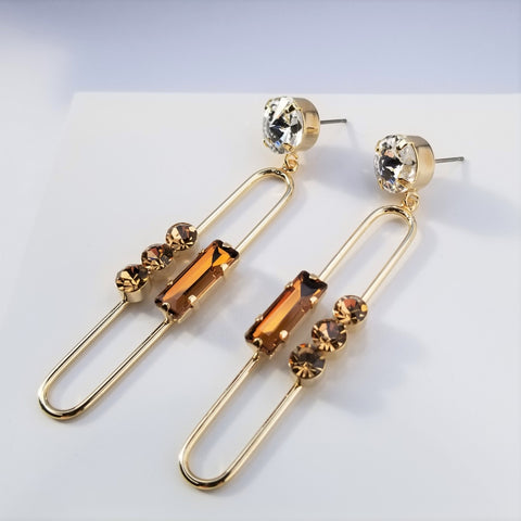 Long Drop Crystal Earrings
