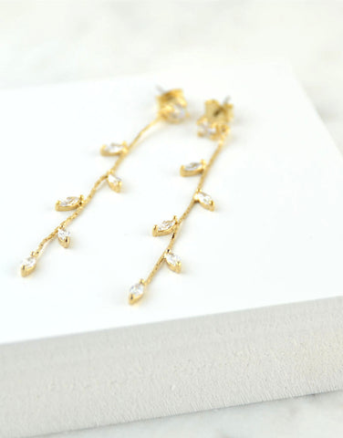 Sparkling Leaf Drop Earrings