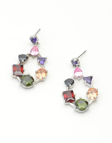 Multi - Crystal Drop Earrings