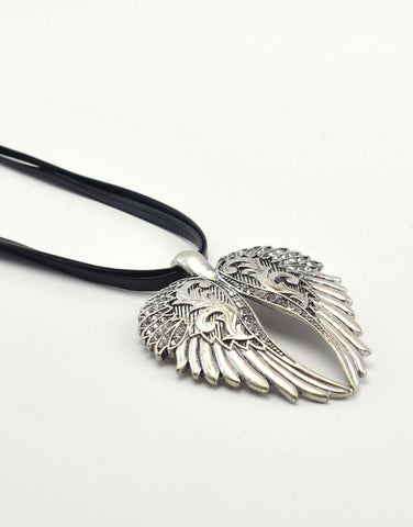 Angel Wing Pendant with Leather Necklace