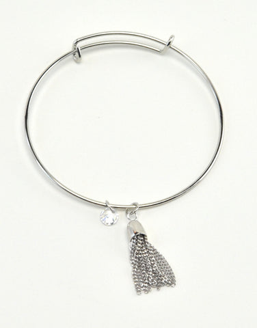 Bangle Bracelet with Tassel Charm