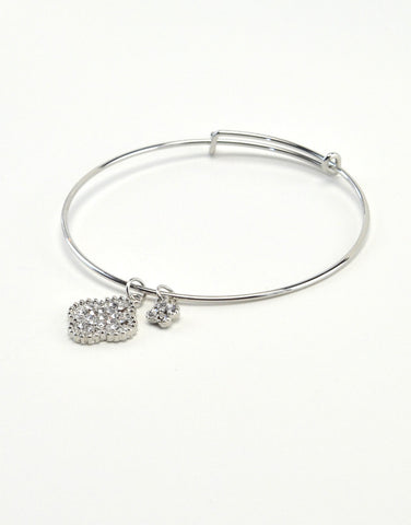 Bangle Bracelet with Clover Charm