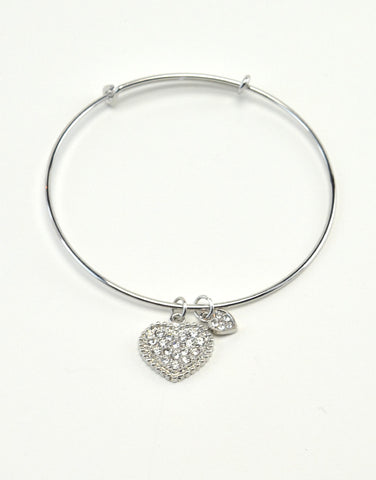 Bangle Bracelet with Heart Charm
