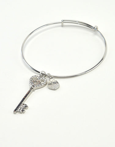 Bangle Bracelet with Heart key Charm